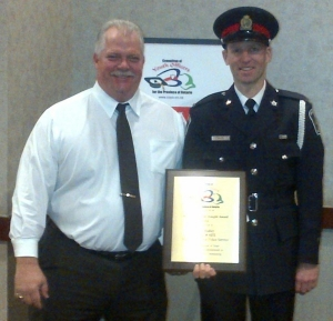 Niagara Regional Police constable Neil Ridley was awarded the Bud Knight award at the 2014 Committee of Youth Officers for the province of Ontario (COYO) conference